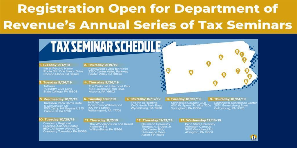 Registration Open for Department of Revenue's Annual Series of Tax Seminars