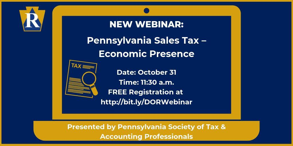 Department of Revenue to Present Webinar on Sales Tax & Economic Presence
