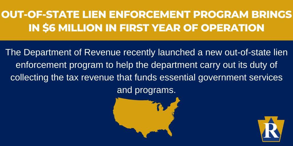 Out-of-State Lien Enforcement Program Brings in $6 Million in First Year of Operation