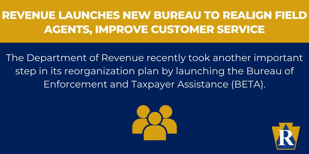 Revenue Launches New Bureau to Realign Field Agents, Improve Customer Service